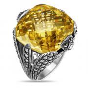 Серебряное кольцо ALEXANDRE VASSILIEV с желтым фианитом и марказитами Swarovski TJR248