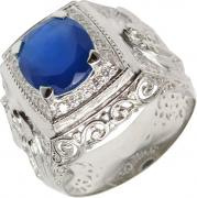 Серебряные кольца Маршал KM-141/3-sinij-fianit