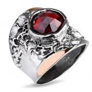 Серебряное кольцо Yaffo с фианитом и золотом SAR1123