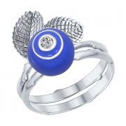 Серебряное кольцо SOKOLOV с эмалью и фианитами 94012205
