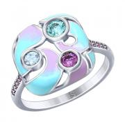 Серебряное кольцо с эмалью и фианитами 5 7 3 арт. 94012780