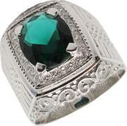 Серебряные кольца Маршал KM-140/3-fianit-zelenyj