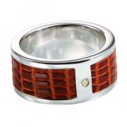 Мужское серебряное кольцо Hot Diamonds с бриллиантом и кожей MR025