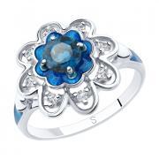 Кольцо SOKOLOV из серебра с лондон-топазами и эмалью. 19 р-р.
