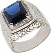 Серебряные кольца Маршал KM-140/2-fianit-sinij