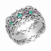 """Серебряное кольцо с самоцветами """"Пояс Богородицы"""""""