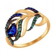 Кольцо из золота с зелеными и синими фианитами арт. 017080