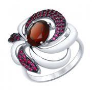 Cеребряное кольцо с гранатом 3 2 17 арт. 92011427