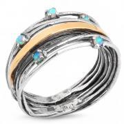 Серебряное кольцо Yaffo с золотом и синт. опалом SAR164