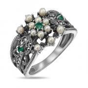 Серебряное кольцо c микрожемчугом, изумрудамии марказитами RKR106