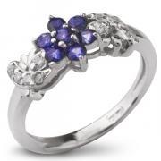 Серебряное кольцо Sandara с сапфирами и фианитами ANR1399