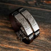 Кожаные парные браслеты (тёмно-коричневый, Испанская кожа)