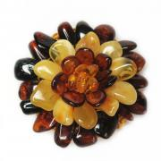 Брошь-кулон Цветок из натурального янтаря 074-yk