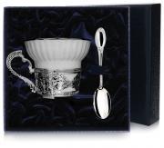Набор из чайной чашки и ложки в футляре от Argenta, фарфор, серебро