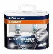 Лампа NIGHT BREAKER UNLIMITED, 12 В, 51 Вт, HB4, P22d, OSRAM, 9006NBUDUOBOX