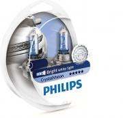 Лампа галогенная PHILIPS H4 Crystal Vision 4300K 12V- 60/55W + W5W 12V-5W, комплект по 2шт, 12342CVSM