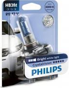 """Лампа автомобильная галогенная Philips """"CrystalVision"""", для фар, цоколь HB3FIT (P20d), 12V, 60W"""