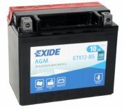 Мотоциклетный аккумулятор Exide AGM ETX12-BS YTX12-BS, 10 A/ч, 150 A, Прямая полярность