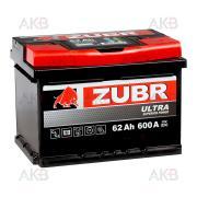 Автомобильный аккумулятор ZUBR Ultra 62R 62 A/ч, 600 A, Обратная полярность, 242x175x175