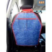 Накидка (чехол) на спинку автомобильного сиденья с карманами. Цвет: джинс с красной окантовкой.