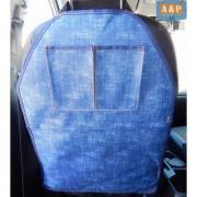 Накидка (чехол) на спинку автомобильного сиденья с карманами. Цвет: джинс.