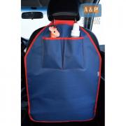 Накидка (чехол) на спинку автомобильного сиденья с карманами. Цвет: темно-синий с красной окантовкой.