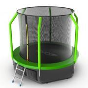 Батут EVO JUMP Cosmo 8ft (зеленый) с внутренней сеткой и лестницей + нижняя сеть.