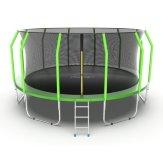 Батут EVO JUMP Cosmo 16ft (Green) 4.88 м, с внутренней сеткой и лестницей