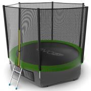 EVO JUMP External 10ft (Green) + Lower net. Батут с внешней сеткой и лестницей, диаметр 10ft (зеленый) + нижняя сеть