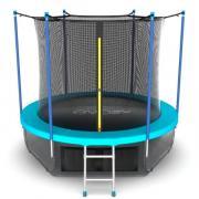 Батут EVO JUMP с внутренней сеткой и лестницей, диаметр 10ft (морская волна) + нижняя сеть