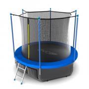 Батут EVO JUMP с внутренней сеткой и лестницей, диаметр 10ft (синий) + нижняя сеть