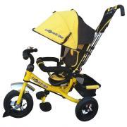 """Велосипед трехколесный Lexus Trike желтый, колеса надувные 10"""" и 8"""""""