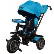 """Велосипед трехколесный Lexus Trike BMW со светомузыкой голубой, колеса надувные 12"""" и 10"""""""