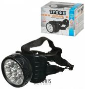 Фонарь налобный светодиодный ТРОФИ TG9, 9xLED, заряд от 220 V