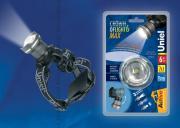 Uniel S-HL013-C Silver Фонарь Uniel серии Стандарт «Crown of light - 6 max» (налобный фонарь), алюминиевый корпус, 6 Watt Led, упаковка — кламшелл, 3хААА н/к, цвет – серебро