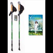 Палки для скандинавской ходьбы Finpole NOVA 30% Carbon серо-зелёные + книга о ходьбе Finpole NOVA 30% Carbon