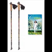 Палки для скандинавской ходьбы Finpole NOVA 30% Carbon чёрно-золотистые + книга о ходьбе Finpole NOVA 30% Carbon