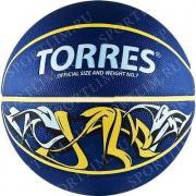 Мяч баск. TORRES Jam р. 3, резина, сине-желт-голубой