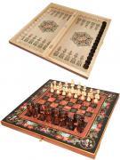 """Деревянный набор """"3 в 1"""" шахматы, шашки, нарды """"Цветы"""""""
