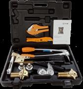 Пресс инструмент TIM для труб REHAU с насадками и тисками Ф16-32
