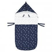 Конверт La Redoute Для новорожденного с капюшоном и рисунком демисезонная модель единый размер синий