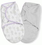 Summer Infant Конверт на липучке SwaddleMe Organic®, размер S/M, (2 шт), ловец снов/сиреневый/серый