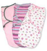 Summer Infant Конверт на липучке Swaddleme®, (3 шт.), размер S/M, розовые жучки