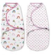 Summer Infant Конверт на липучке SwaddleMe Organic®, размер S/M, (2 шт), радуги/сердечки