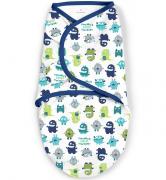 Summer Infant Конверт на липучке Swaddleme®, размер S/M, синий/монстрики2