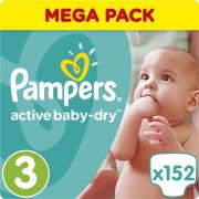 Pampers Подгузники Active Baby-Dry 5-9 кг (размер 3) 152 шт
