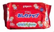 PIGEON Детские влажные гигиенические салфетки с косметическим молочком, запасной блок, 66 шт, PIGEON