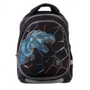 Рюкзак школьный с эргономичной спинкой Kite 700(2p), 38 х 28 х 16, для мальчика, с крышкой Dino and skate, чёрный
