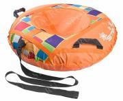 Санки надувные 90 см STELS Тюбинг ткань с рисунком без камеры СН030 оранжевый/разноцветные прямоугольники