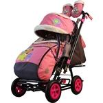 Санки-коляска SNOW GALAXY City-2-1 Мишка со звездой на розовом на больших надувных колёсах (7089)